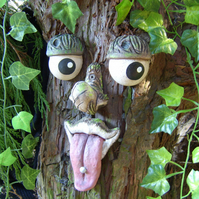 handmade tree face garden ornament sculpture statue tree decoration