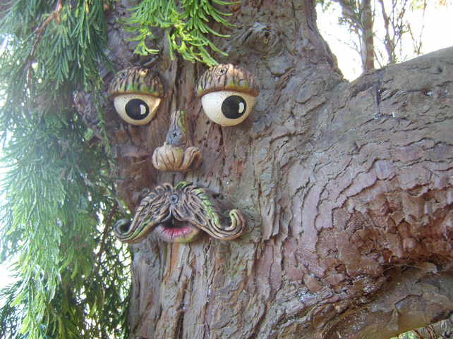 Moustached tree face, sculptures, statues, garden ornaments, funny faces.