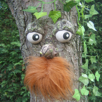 Garden ornament bearded Tree Face. sculpture, statue, handmade Christmas gift.