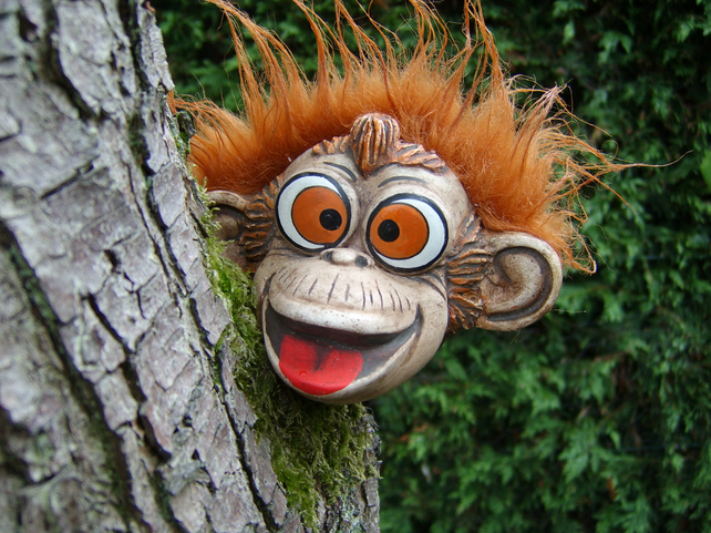 Monkey garden ornament, sculpture, statue, garden decoration, Christmas gifts.