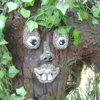 Tree face garden ornament. sculptures statues tree decorations, funny faces gift