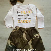 Little Girl camouflage skirt and hair clip or bow bobble. Daddy is my hero