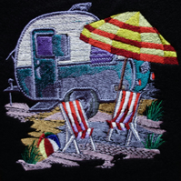 Handmade caravan and deckchairs greetings card embroidered design