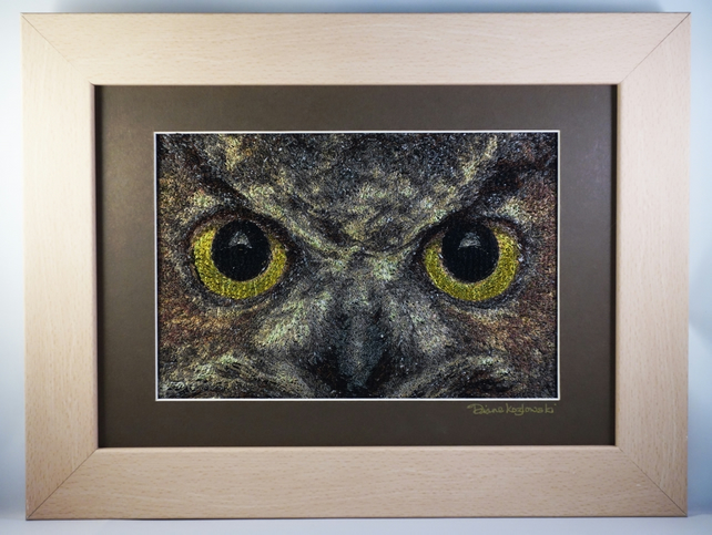 Watching Me, Watching You. A beautiful, framed, machine embroidered work of art.