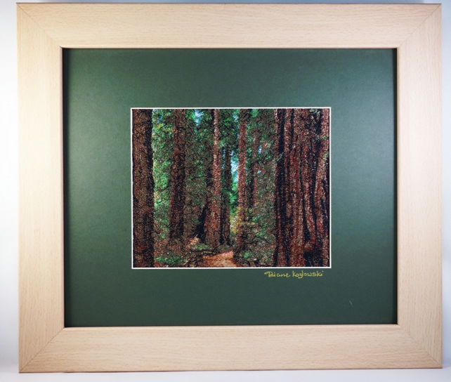 Forest Path. A beautiful, framed, machine embroidered work of art.