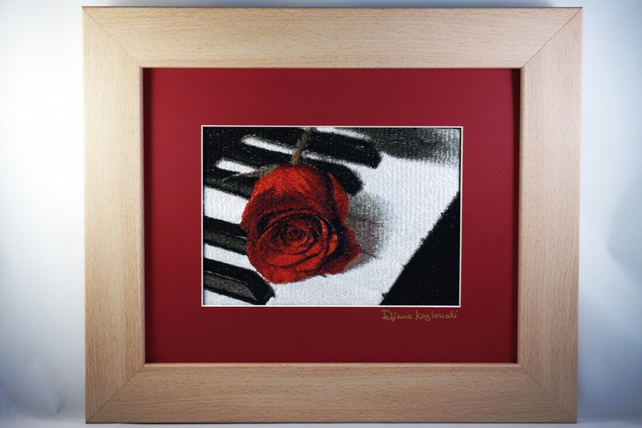 Art in Harmony. A beautiful, framed, machine embroidered work of art.
