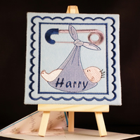 Handmade personalised card embroidered design with matching insert and envelope