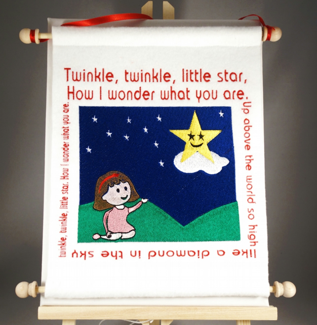 Twinkle, Twinkle Little Star.Hand Crafted, Embroidered Nursery Rhyme Wall Hanger