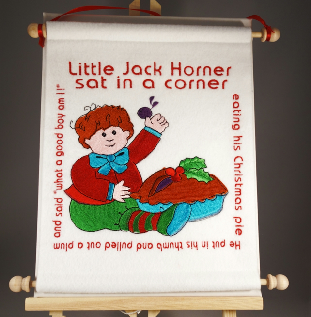 Little Jack Horner. Hand Crafted, Embroidered Nursery Rhyme Wall Hanger