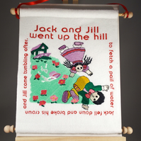 Jack and Jill. Hand Crafted, Embroidered Nursery Rhyme Wall Hanger