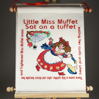 Little Miss Muffet. Hand Crafted, Embroidered Nursery Rhyme Wall Hanger