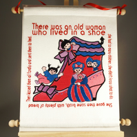 There Was an Old Woman. Hand Crafted, Embroidered Nursery Rhyme Wall Hanger