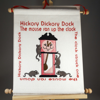 Hickory Dickory Dock. Hand Crafted, Embroidered Nursery Rhyme Wall Hanger