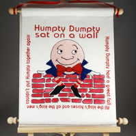 Humpty Dumpty. Hand Crafted, Embroidered Nursery Rhyme Wall Hanger