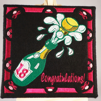 18th Birthday.  Handmade greetings card embroidered design