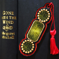 Handmade Bookmark embroidered design with coordinating tassel