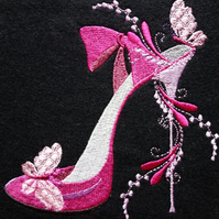 Embroidered Pink High Heeled Shoe Greetings Card