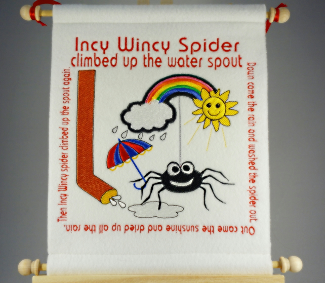 Incy Wincy Spider Hand Crafted, Embroidered Nursery Rhyme Wall Hanger