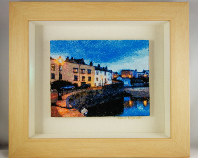 Tenby I. A beautiful, framed, machine embroidered work of art.