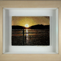 Lola's Sunset. A beautiful, framed, machine embroidered work of art.