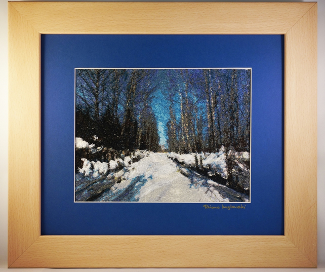 Snowy Road. A beautiful, framed, machine embroidered work of art.
