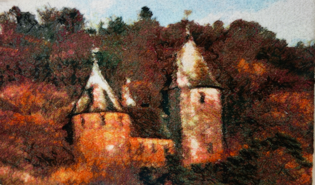 Castell Coch. A beautiful, mounted, machine embroidered work of art.