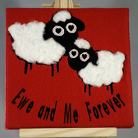 Valentines Card. Handmade embroidered design with wool effect applique.