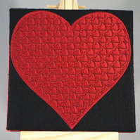 Valentines Card. Beautiful, handmade embroidered design