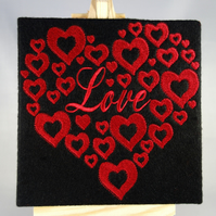 Love Valentines Card. Beautiful, handmade embroidered design
