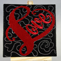Valentines Card. Love. Beautiful, handmade embroidered design