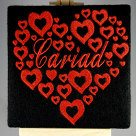 Welsh Cariad Valentines Card. Beautiful, handmade embroidered design