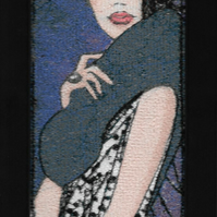 Sophistication. A beautiful, framed, machine embroidered work of art.