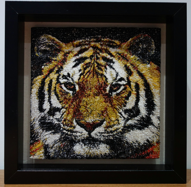 Tiger. A beautiful, framed, machine embroidered work of art.