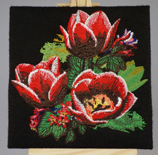 Handmade greetings card embroidered design with matching insert and envelope