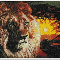 Lion King. A beautiful, mounted, unframed, machine embroidered work of art.