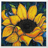 The Sunflower.  A beautiful, mounted, unframed, machine embroidered work of art.