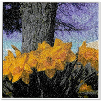 Daffodils.  A beautiful, mounted, unframed, machine embroidered work of art.