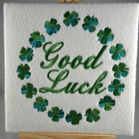Handmade good luck shamrock greetings card embroidered design