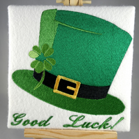Handmade Irish hat good luck greetings card embroidered design