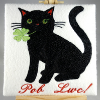 Handmade Welsh Pob Lwc black cat greetings card embroidered design