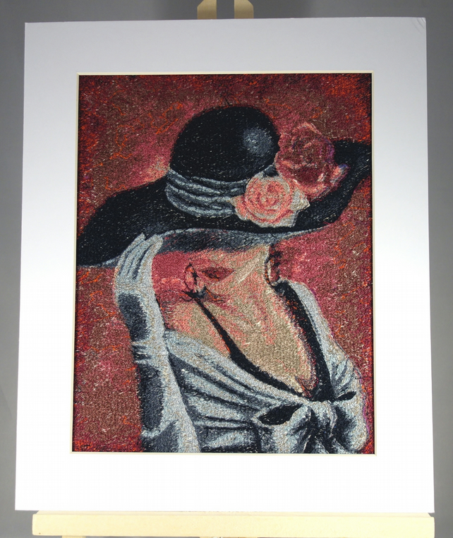 Mujer Hermosa. A beautiful, mounted, unframed, machine embroidered work of art.