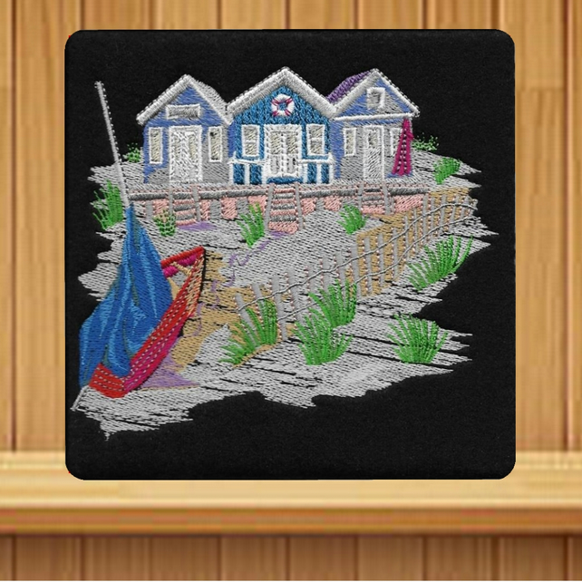 Handmade Beach Chalets greetings card (with option to personalise) embroidered