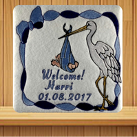 Handmade baby boy and stork personalised card embroidered design