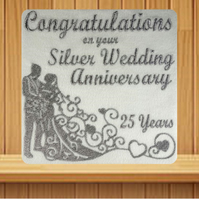 Handmade 25th Silver Wedding Anniversary Card embroidered design