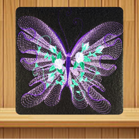 Purple Butterfly greetings card (with option to personalise) embroidered design