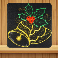 Handmade Christmas card embroidered design with matching insert and envelope