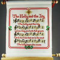 The Holly and the Ivy. Hand Crafted, Embroidered Christmas Carol Wall Hanger