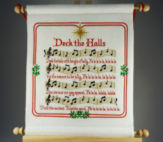 Deck the Halls. Hand Crafted, Embroidered Christmas Carol Wall Hanger