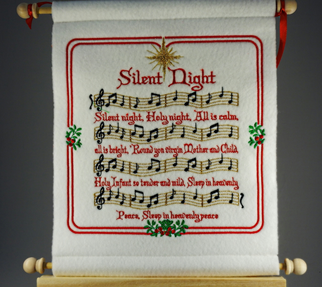 Silent Night.  Hand Crafted, Embroidered Christmas Carol Wall Hanger