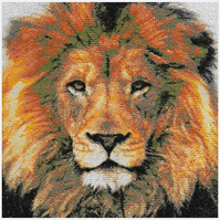 Lion. A beautiful, mounted, machine embroidered work of art.